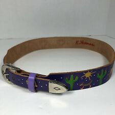 Girls Fun Hand Tooled Hand Painted Leather Purple Western Belt Size 30 K.Thomas