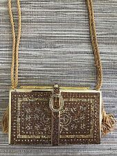 Judith Lieber Evening Book Clutch in Gold, pre owned condition