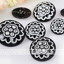 50PCS Black Flower Acrylic Top Grade Overcoat Round Button Craft Decoration