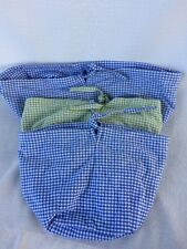 Pottery Barn Kids Blue & Green Gingham Basket Liners Lot of 3