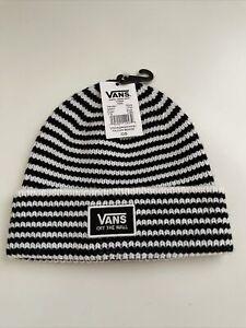 New VANS Of the Wall Street Style Skater Daily Beanie Cap Hat Black White Stripe