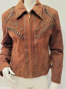Womens CRIPPLE CREEK Leather Jacket Suede Sz Medium Beaded Western Rodeo