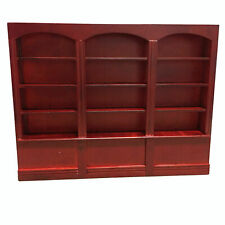 Dollhouse Wooden Triptych Bookcase Cabinet 1:12 Miniature Furniture Red