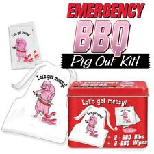 Emergency Bbq Kit Let'S Get Messy Bibbs & Wipes Gag Gift Archie McPhee Pig Out