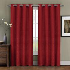 Red Prairie Grommet Blackout Weave Embossed Room Window Curtain Panels (Single)