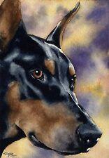 Doberman Pinscher Painting Dog 8 x 10 Art Print Signed by Artist Djr