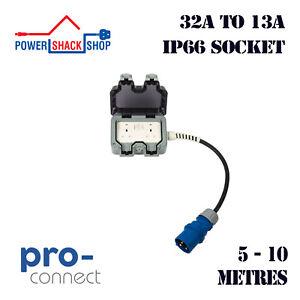 PC, ADAPTOR, 32A Plug to 13A Twin Weatherproof Socket, 5 - 10 Metres, 4mm²