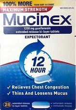 MUCINEX MAX STRENGTH 28 TABLETS 1200 MG GUAIFENESIN 12-HR EXPECTORANT EX 04/20+