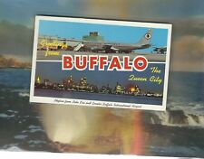 American Airlines 707 Astrojet at Buffalo Ny airport multi view postcard