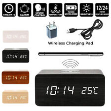 Modern Wooden Digital LED Desk Alarm Clock Thermometer Qi Wireless Charger