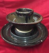 Large Antique Vintage Ceramic Electric Insulator Brown Tiered Ashtray Planter