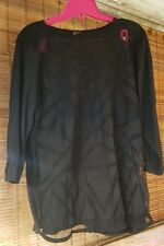 LUCKY BRAND Women Plus Size 1X EUC ¾ Sleeve Black Shirt Top Blouse W/ Sheer