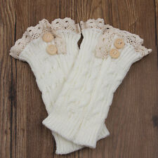Cute Women Boot Cover Cuffs Knitted Lace Crochet Trim Stretch Leg Warmer Socks