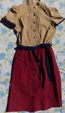 VTG 1970's Beige Navy & Maroon Women's Dress sz 9/10 Button Up W/ Belt
