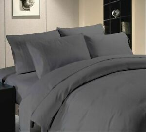 Premium Egyptian Cotton 1200 TC Duvet Set + Fitted Sheet Gray Solid All Sizes