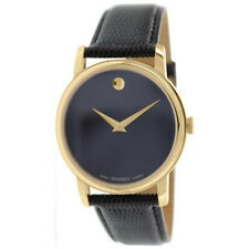 100% New Movado Museum 2100005 Black Dial Gold Classic Leather Strap Men's Watch