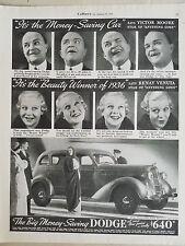 1936 Dodge Touring Sedan Car Money Saving Beauty Winner Original Ad