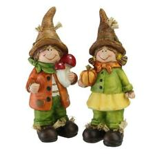 "Set of 2 Boy and Girl Scarecrow Kids Decorative Table Top Figurines 7.75"" w"