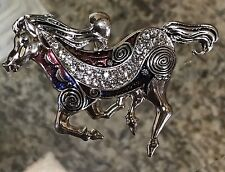Rhinestones Megnetic Closure Pendent Western Flying Horse Silver With