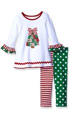 Bonnie Jean Baby Girls Christmas Tree Holiday Dress Leggings Outfit Set 12M New