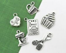 6 BAKING Charms, Antique Silver Mixed Cooking Charm Collection Lot Bake Set