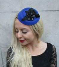 6c66e3db806 Royal Blue Black Sequin Pillbox Hat Hair Fascinator Races Wedding Headpiece  6782