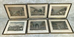 6 Antique 1851 Great Exhibition of All Nations Lithographs by Chavanne in Frames