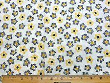 Vintage Cotton Feedsack Fabric 30s PRETTY Little Retro Yellow&Black Floral EXC