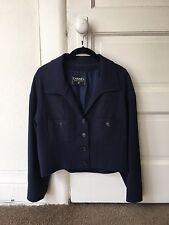 Vintage Chanel Navy Blue Silk Cropped Jacket Size 36
