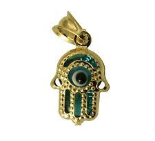 14K Real Yellow Gold Hand Evil Eye Very Small Tiny Charm Pendant Mal De Ojo