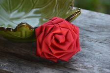 "Set of 2 Red Satin Roses, 3"" Satin Rosettes, Satin Rolled Rosette, Rolled Roses"