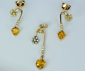 18k Yellow Gold Heart Shape Citrine & Round Diamond Earrings And Pendant Set