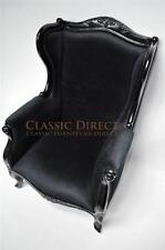 Wingback Chair French Provincial Black Gloss Black Velvet SRP1350