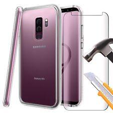 Per Samsung Galaxy S9 Plus-trasparente TPU GEL Custodia Cover & Vetro Temperato completa 3D
