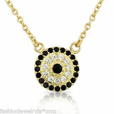 Sterling Silver Gold White Black Crystals Womens Evil Eye Hamsa Pendant Necklace