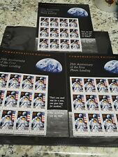 3 Sheets '25th' Anniversary  First Moon Landing U.S. Stamps 12 stamps each sheet