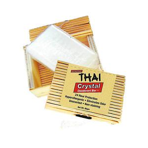 THAI 100% Natural Crystal Deodorant Stone in Decorative Bamboo Box