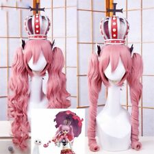 One Piece Perona Cosplay wig costume Pink colour 2 clip+crown headband