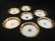 """(7) Ls&S Limoges Coiffe Decorated Heavy Gold 5.75"""" Bowls with Center Medallion"""