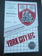 York City V Walsall     1971/2