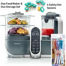 New Babymoov Duo Meal Food Maker 6 in 1 Cooker & Oxo Storage Set & Safety Spoons