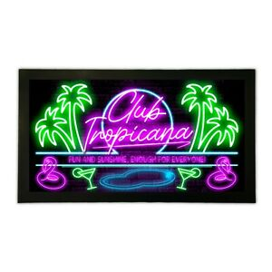 Club Tropicana Bar Runner Mat Eighties Neon Cocktail Style Home Pub 80s Man Cave