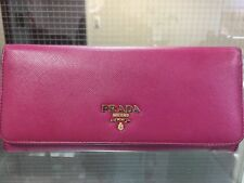Prada Saffiano Leather Flap Wallet (Pink Peonia) w/ Box and Paper Bag
