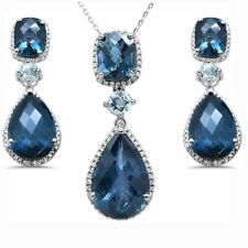 45.75cts F SI  Blue Topaz & Diamond Earring & Pendant Set 18""