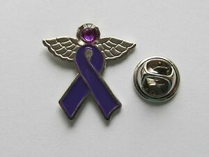 24 PURPLE RIBBON Awareness ANGEL PINS alzheimers domestic violence cancer ADD