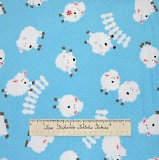 Timeless Treasures FLANNEL Fabric - Nursery Baby Light Blue Tossed Sheep /Yd