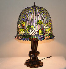 "19""W Stained Glass Lotus Water Lily Flower Tiffany Style Jeweled Table Desk Lamp"