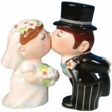 BRIDE and GROOM Ceramic Salt and Pepper Shaker Set NIB