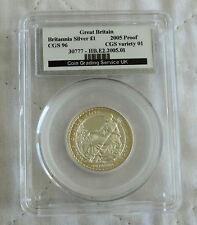 2005 £1 BRITANNIA 1/2oz SILVER PROOF SLABBED CGS 96