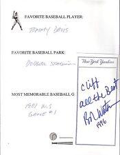 Autographed Information Sheet Bob Watson Houston Astros New York Yankees